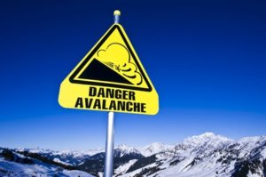 avalanche sign on ski station