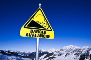 avalanche sign on ski station