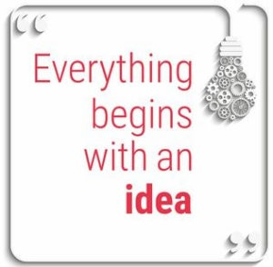 image depicting idea quote with light bulb with gears.